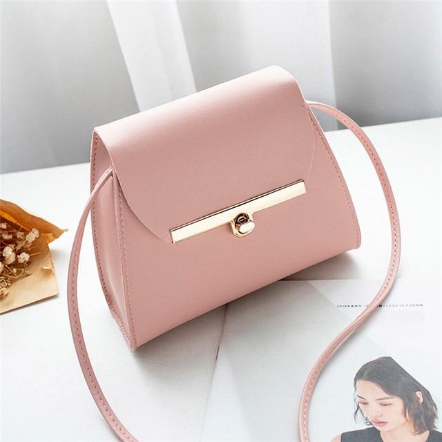 Simples Aba bolsa de Ombro PU Bolsas De Couro Das Mulheres Meninas Pure Color Mini Messenger Bag Peito corpo Cruz Bolsas bolsa feminina