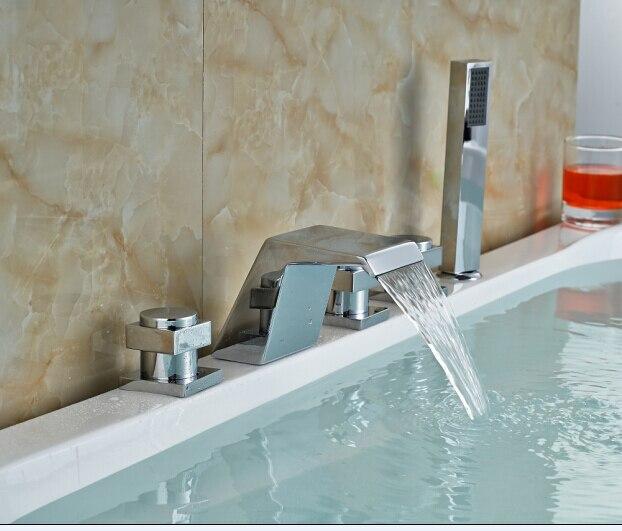 Chorme Brass Bathtub Faucet Deck Mounted Faucet Luxury Sink Tap Three Handles elegant chorme bathroom faucet deck mounted shape faucet three handles mixer tap