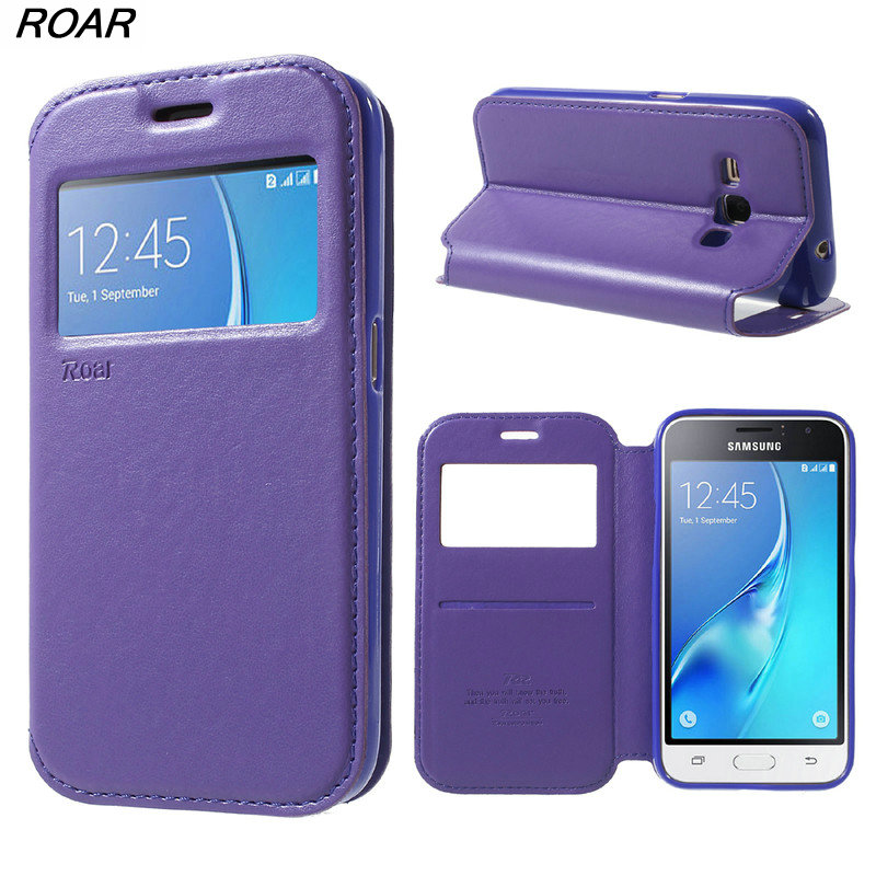 For Samsung Galaxy J1 2016 Case Original ROAR KOREA Noble Leather View Case For Samsung Galaxy J1 2016 J120 J120F With Package