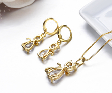 Kitty Cat Pendant Necklace & Drop Earrings Jewelry Set For Ladies