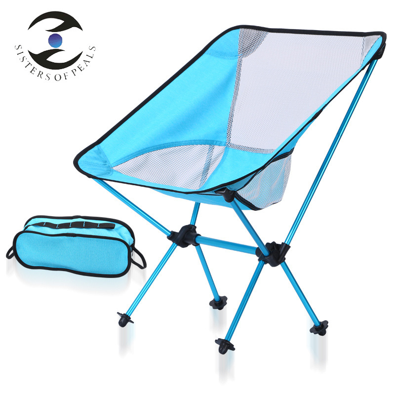 Portable Folding Chair for Outdoor Camping Picnic Aviation Aluminum Alloy Fishing Chair Ultra Light Moon Chair 150kg Bearing