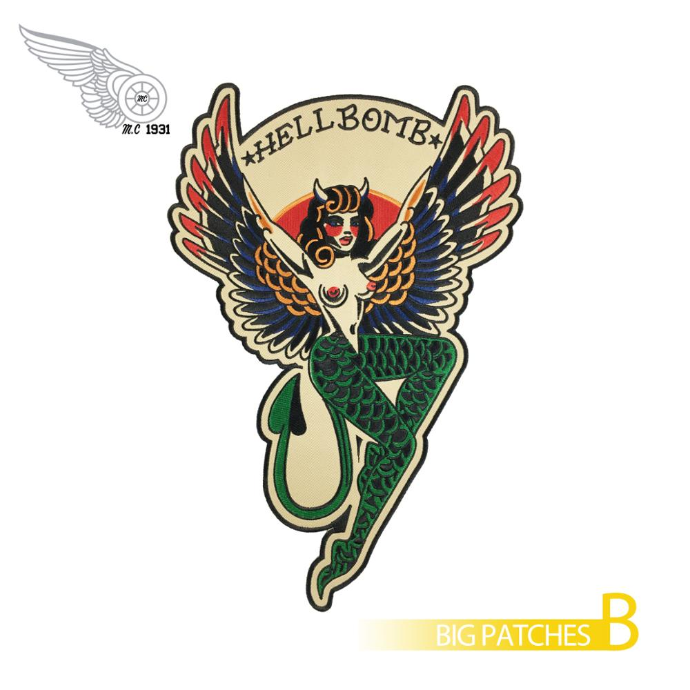 Hellbomb Female devil embroidery patches full back size iron on biker patches for clothing jacketHellbomb Female devil embroidery patches full back size iron on biker patches for clothing jacket