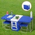 Многофункциональный Прокатки Cooler Со Столом И 2 Стульями Для Пикника Кемпинг Открытый HW51118