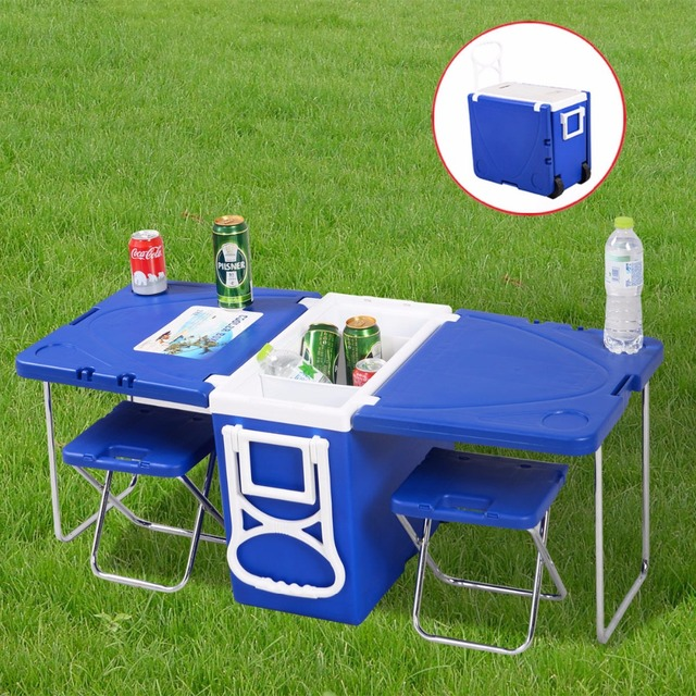 Multi function rolling cooler with table and 2 chairs picnic camping multi function rolling cooler with table and 2 chairs picnic camping outdoor hw51118 watchthetrailerfo