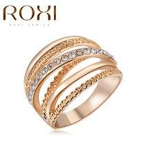 Marca ROXI las mujeres anillo de dedo Color oro anillos de compromiso para las mujeres anillos de boda anillos de joyas de cuerpo tamaño 6 7 8 9 10