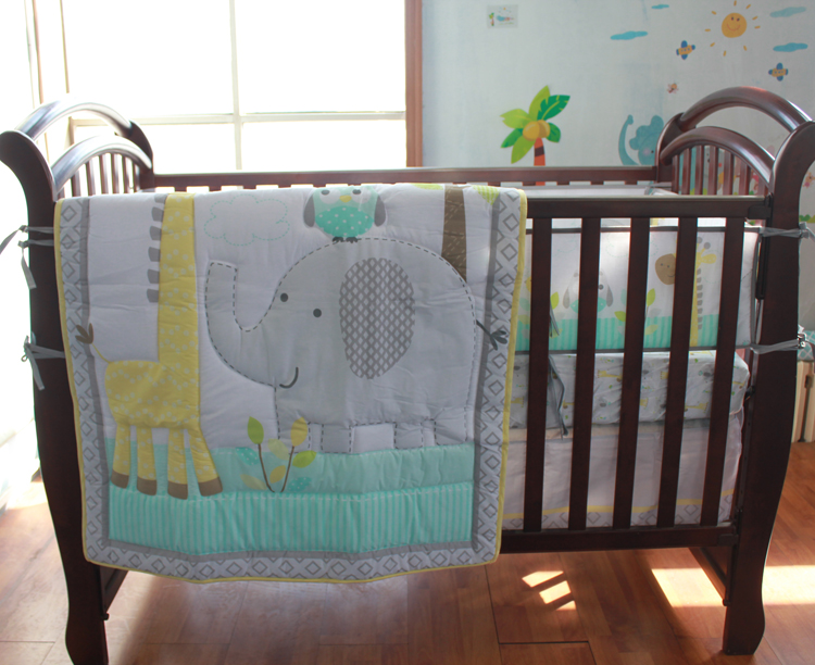 Baby Bedding New 7 Pcs Baby Bedding Set Baby Crib Bedding Sets Elephant Cartoon Baby Nursery Bedding Sets Quilt Bumper Sheet Skirt