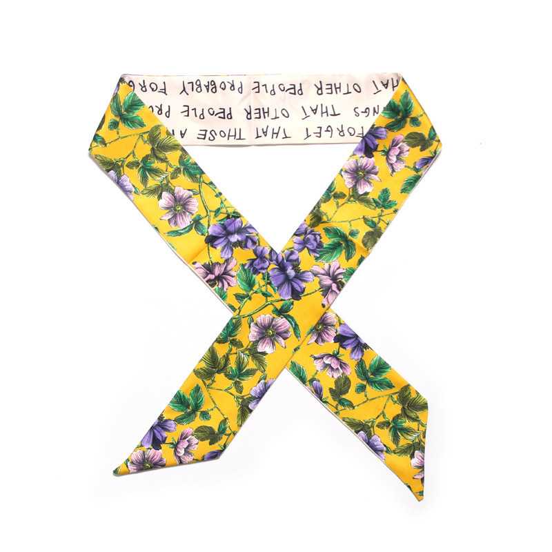 2019 New Skinny Scarf Small Floral Printing Silk Scarf Women Handle Bag Ribbons Luxury Brand Foulard Bag Head Scarves