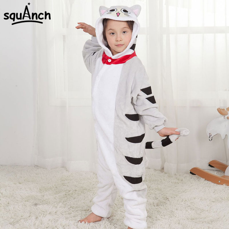 Chi Cat Kigurumi Child Onesie Kid Animal Overall Boy Girl Winter Sleep Suit Flannel Soft Cute Festival Party Pajama Cheese Kitty