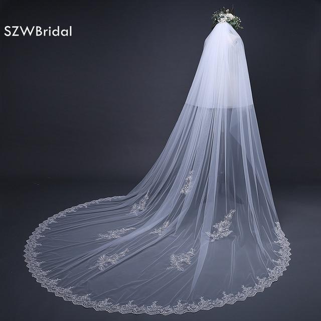 Fashion 3 Meter Wedding veil with comb Long Lace Edge Bridal Veil with Comb Wedding Accessories Sluier Vestido de noiva
