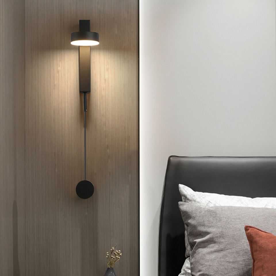 LED Wall lamp with Knob Switch Dimmable wall light Modern Home Lighting Adjustable 7W 9W Black For Home Stairway Bedroom Bedside