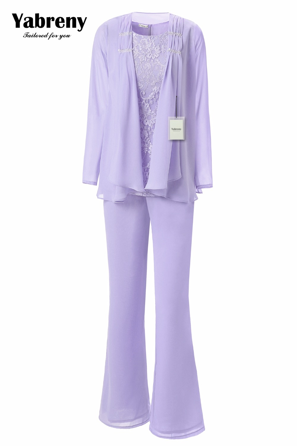 Yabreny Elegant Mother of the Bride Pants suit Lavender Chiffon Outfit for Special occasion MT001704 2-in Mother of the Bride Dresses from Weddings & Events