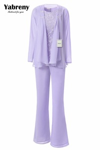 Image 1 - Yabreny エレガントな母花嫁のパンツスーツのラベンダーシフォン衣装特別な日のため MT001704 2