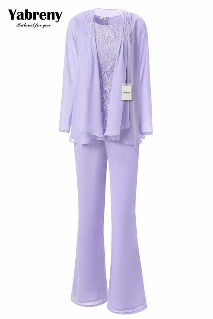 Yabreny エレガントな母花嫁のパンツスーツのラベンダーシフォン衣装特別な日のため MT001704 2