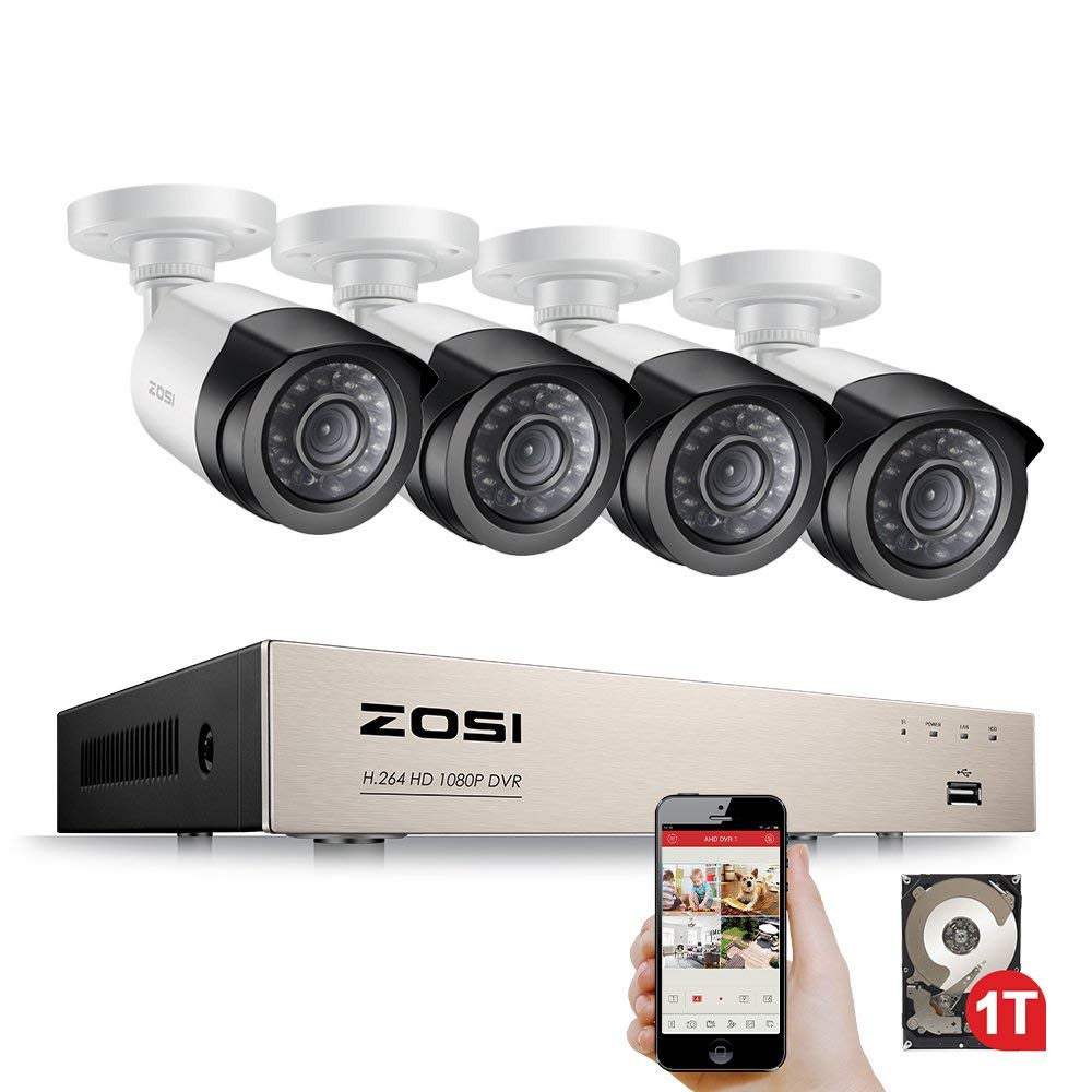 ZOSI Security Camera System 4ch/8ch CCTV System DVR Security System 4CH 1TB 4 X 1080P Security Camera 2.0mp Camera DIY Kits