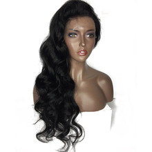 V'NICE Black Body Wave Synthetic Lace Front Wigs with Baby Hair Medium Cap Size Glueless Long Wavy Hair Synthetic Wigs for Women