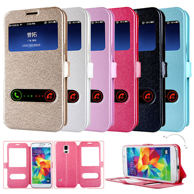 Luxury Smart Front Window View Leather Flip Case For Samsung Galaxy