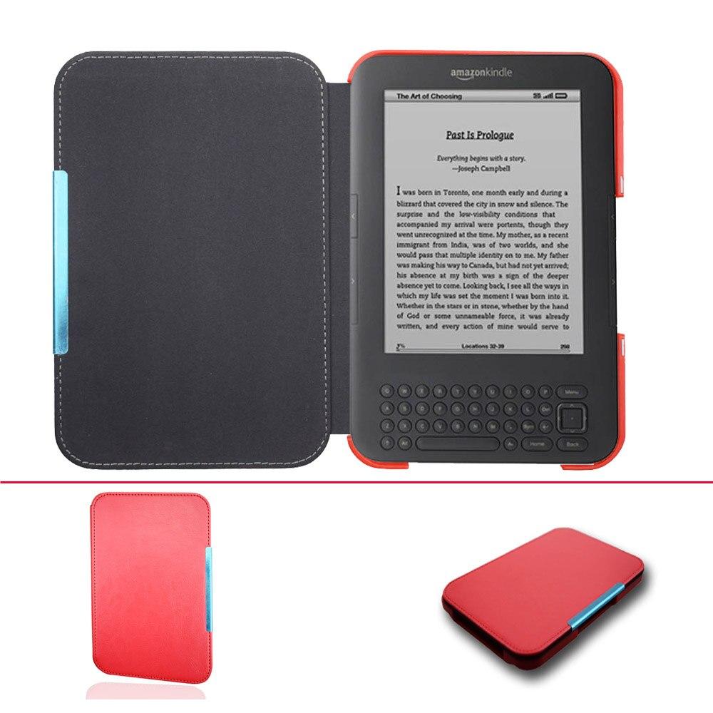 Ultra delgada cubierta de cuero caso para Capa Amazon Kindle 3 3rd Gen teclado eReader Kindle3 Flip folio cubierta de libro magnético caso