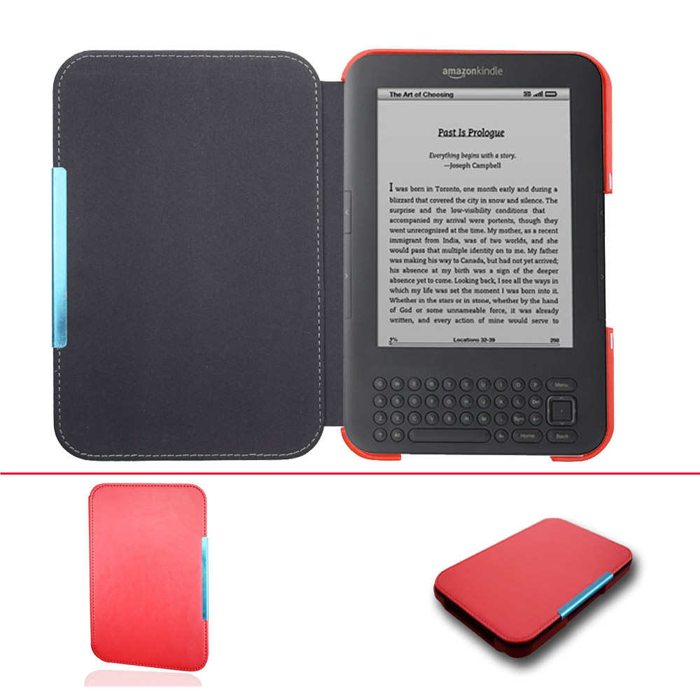 Ultra delgado caso de cubierta de cuero para capa Amazon Kindle 3 3rd gen teclado eReader Kindle3 Flip folio cubierta de libro magnética caso
