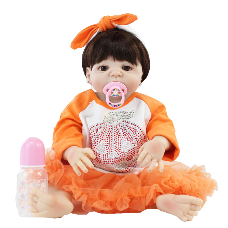 55cm Full Silicone Reborn Baby Doll Toy Lifelike 22'' Soft Vinyl Newborn Princess Babies Girl Bonecas Bebe Alive Kids Bathe Toy