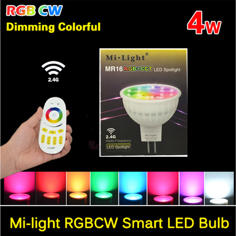 ФОТО DC 12V MR16 4W Mi Light Bulbs 2.4G Wifi RGBW RGBW LED Lamp Light Wireless Brightness Color Temperature Dimmable Lampada
