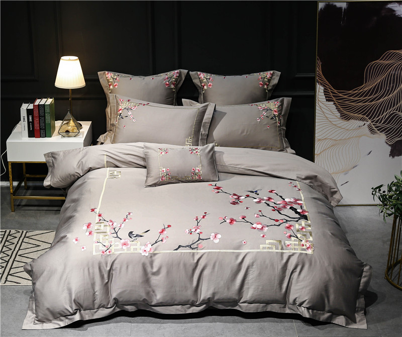 Grey silver queen king size oriental Bedding Set luxury egyptian cotton embroidery Bed set Bed Sheet