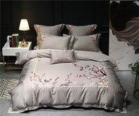 Серый silver queen king size oriental Постельное белье роскошный Египетский хлопок вышивка постельный комплект простыня/белье постельное белье