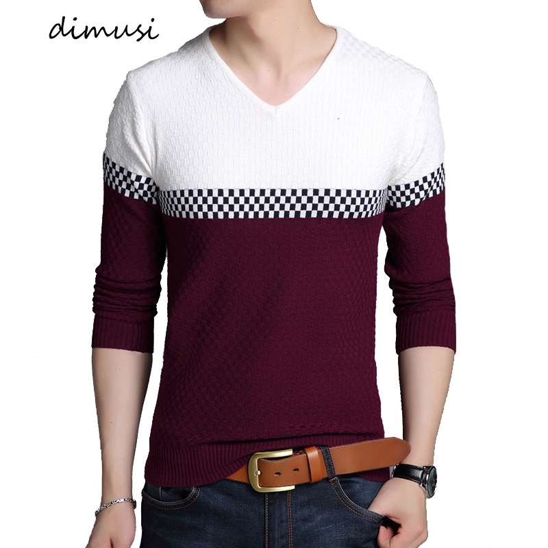 DIMUSI Autumn Winter Men's Pullover Sweater Casual Mens V-Neck Sweaters  Mens Fashion Slim Knitted Pullover Clothings,YA925