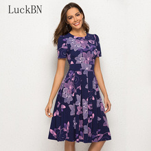New 2019 Women Summer Dress Casual A-Line Dress Short Sleeve O-Neck Floral Print Dresses Elegant Knee Length Spring Party Dress 2018 summer fashion solid simple style a line dress woman o neck short sleeve elegant empire knee length party dresses c1455