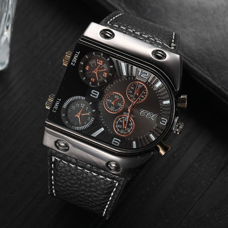 Top Luxury Men Quartz Watches Sport Double Movement Square Dial Compass Function Cool Stylish Watch Designer Clock Casual QH118