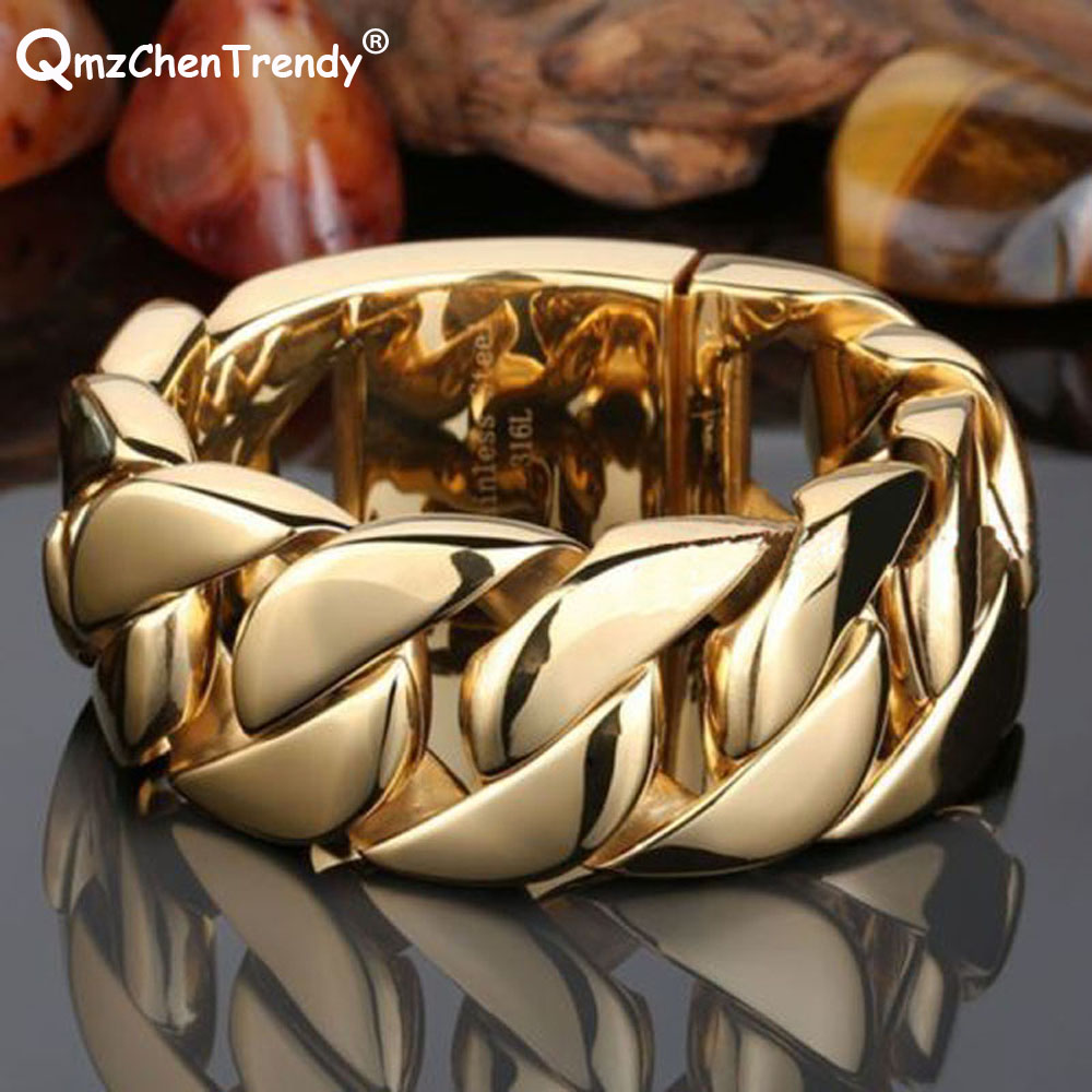 30mm Stainless Steel Mens Oversize Heavy Curb Cuban Chain Bracelets Rapper Exaggerated Hip hop Men Bangle