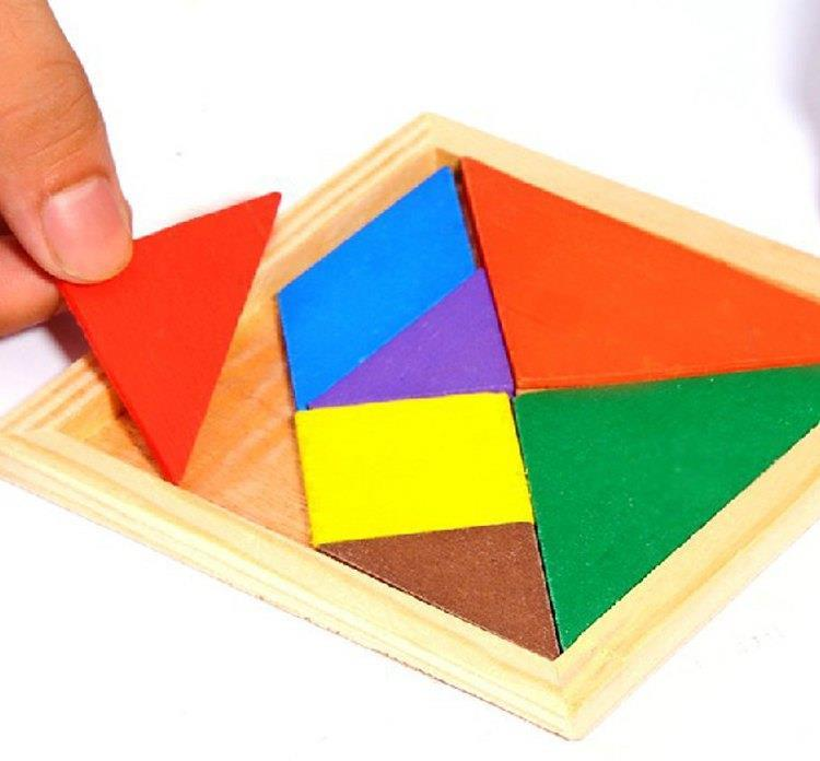 1pc free shipping wooden tangram 7 piece puzzle square iq game brain