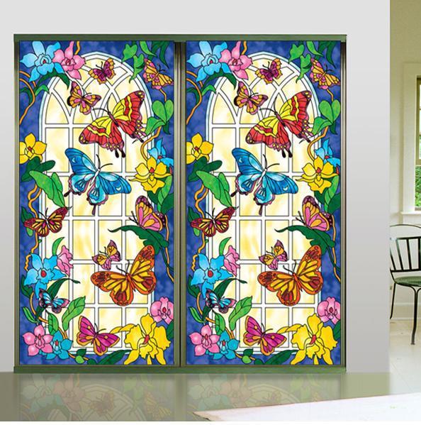 Color Window Painting Art Pvc Sticker Retro Church Glass Closet Cupboard Door Stickers