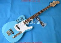free shipping customized electric bass guitar in blue with rosewood fingerboard basswood body F 1502