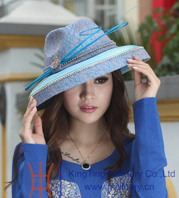 83b75a2b6d5 Free Shipping Fashion Women Hat Elegant Hat Satin Dress Hat Formal Dress  Big Brim Smooth Dome