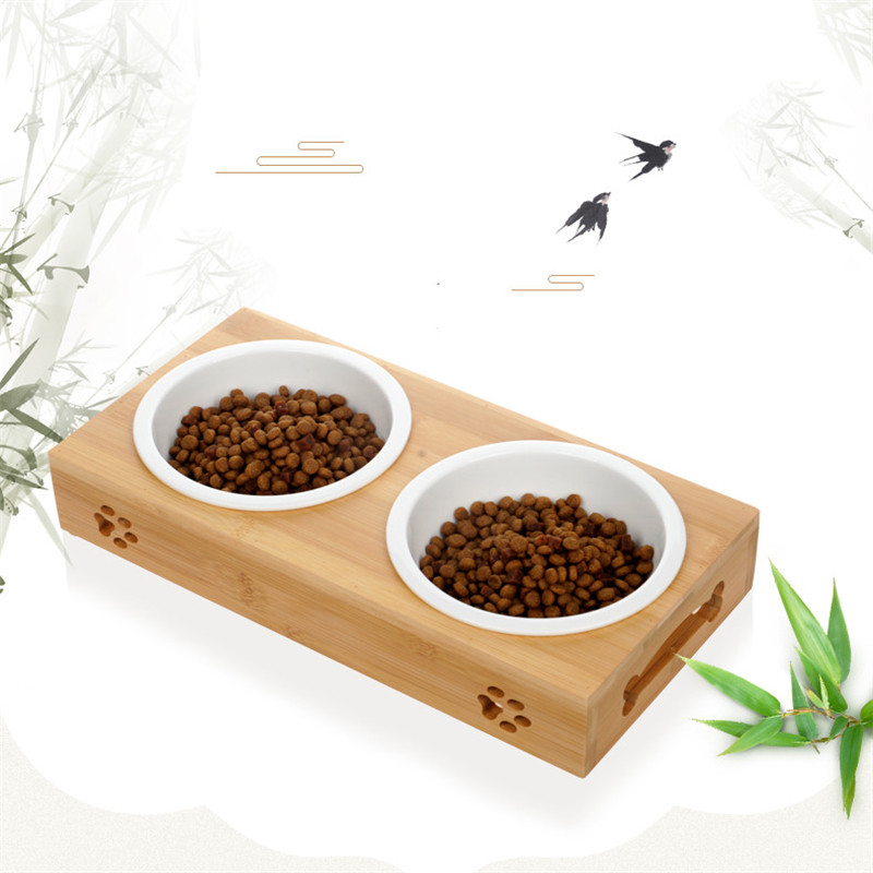 New Dog Feeders Bowl Bamboo Tableware Ceramic and Stainless Steel Double Mouth Dog Bowl High Grade Antiskid Pet Supplies in Dog Feeding from Home Garden