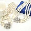 Marfim pérola conjuntos de jóias de casamento strass cristal Diamante coração de colar com Bracelert