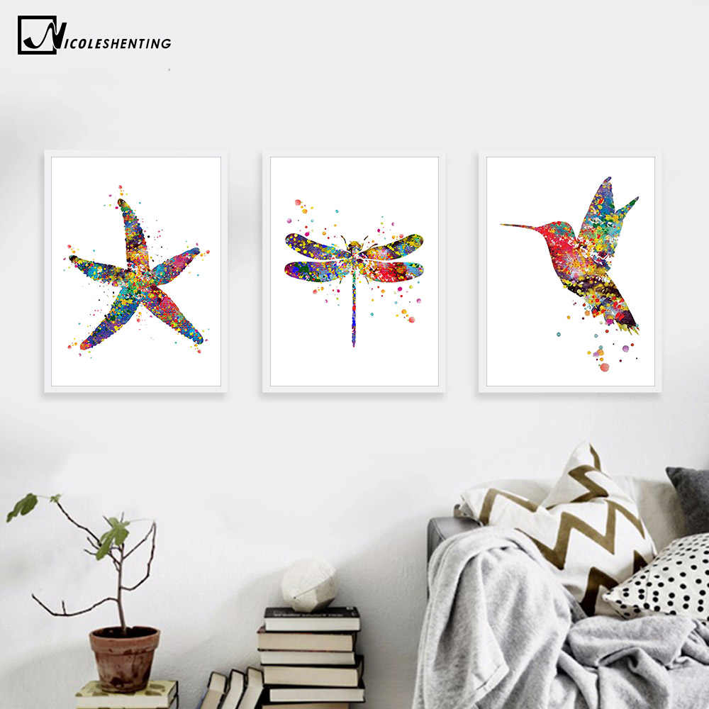 Watercolor Starfish Dragonfly Bird Canvas Poster Minimalist Art Canvas Painting Wall Picture Modern Home Kids Room Decoration
