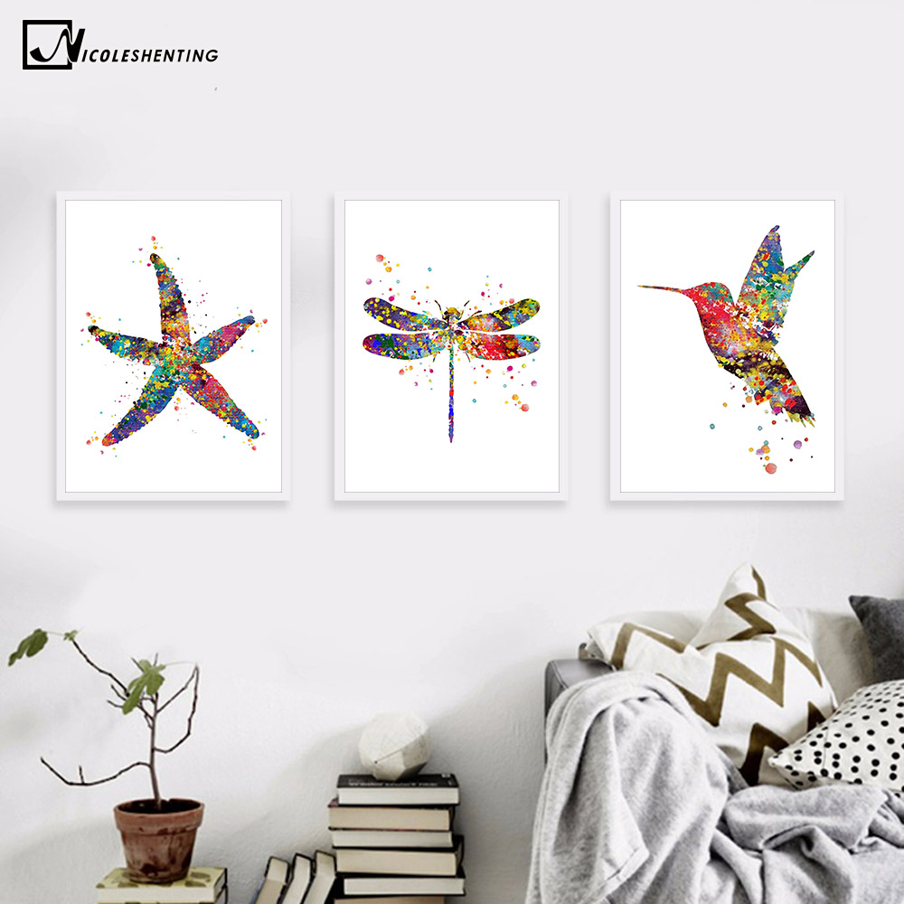 Watercolor Starfish Dragonfly Bird Canvas Poster Minimalist Art Canvas Painting Wall Picture Modern Home Kids Room Decoration tempat make up gantung