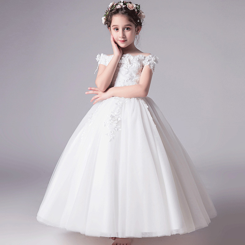 Romantic Flower Girl Wedding Bridesmaid Dress 2019 New Bead Decoration Long  Lace Dress Flower Girl Party Dress-in Flower Girl Dresses from Weddings    Events ... 112676991270