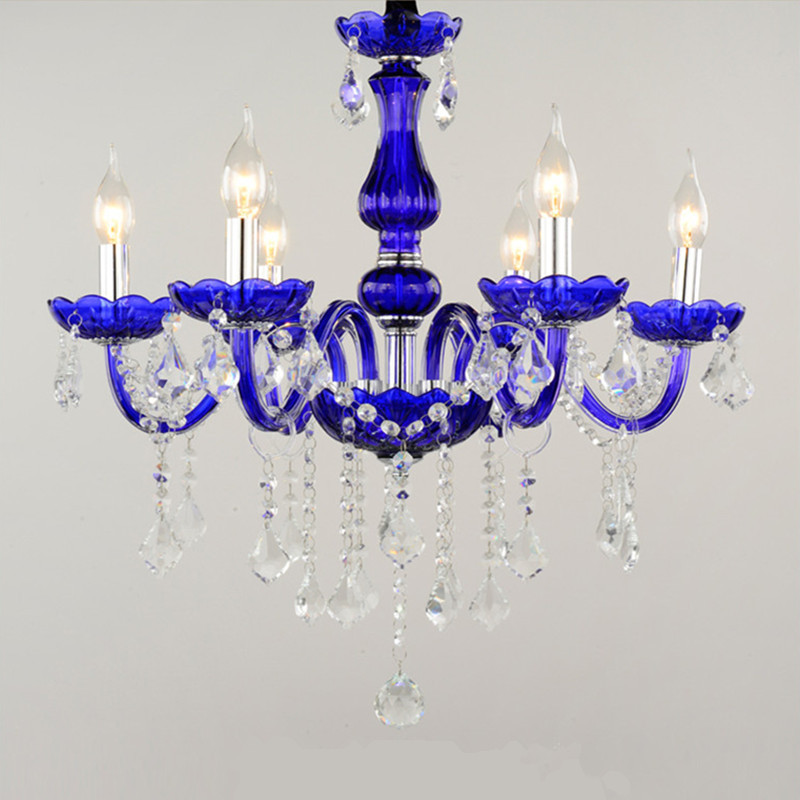 Us 131 75 15 Off 6 Arm European Yellow Purple Pink Green Crystal Chandeliers Light Gl Dining Room E14 Candle Lamp Lighting Re De Sala In