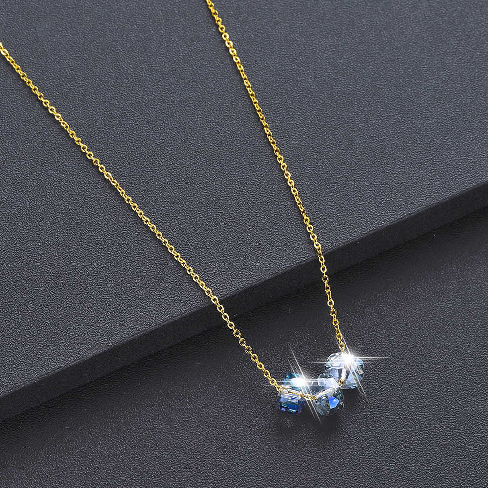 Chandler Faceted Glass Bead Necklace Crystal Stone With Steel Chain Luxurious Friendship Gift CZ  Accessories Drop Shipping