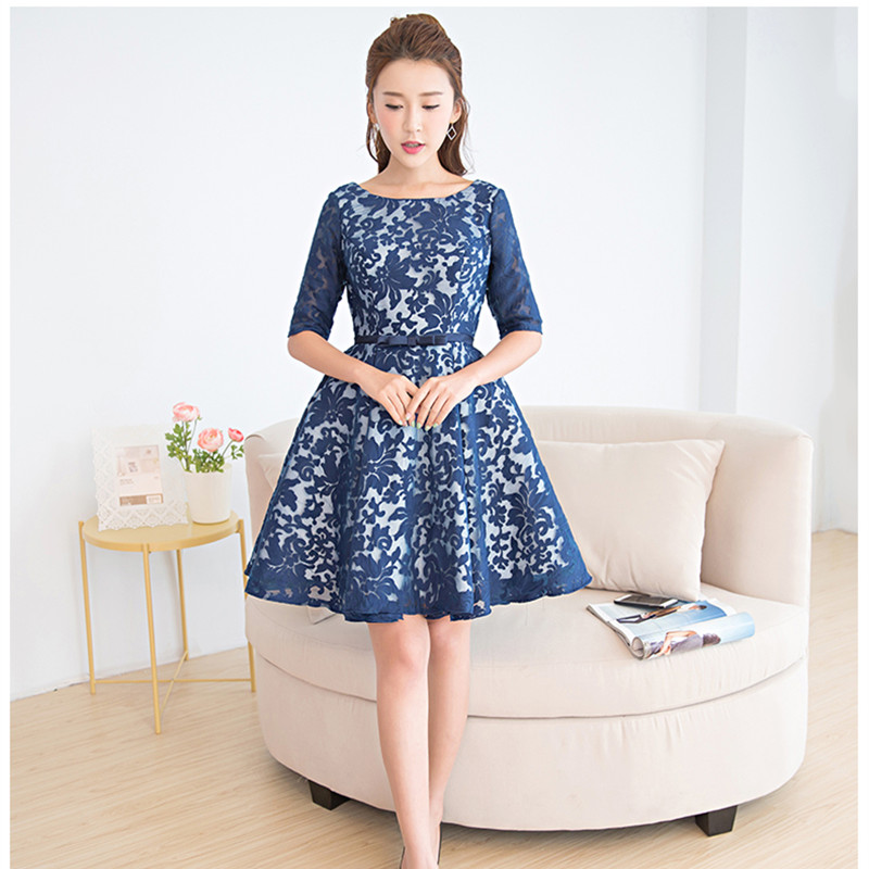 Really Photo In Stock Navy Blue Half Sleeve Mini Ball Gown Lace Sashes Vestidos De Baile Cap Sleeve Plus Size Onepiece 0409