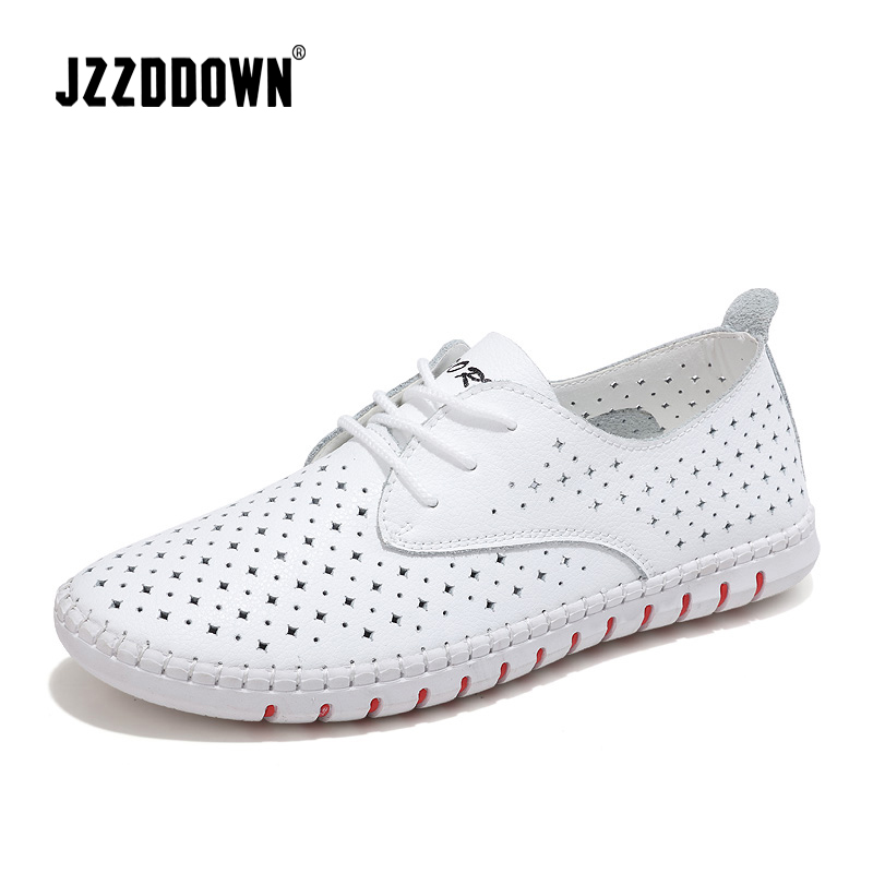 Genuine Leather ladies flats sneakers shoe Women casual loafers shoes female Hollow moccasins White Lace up canvas Boat shoes(China)