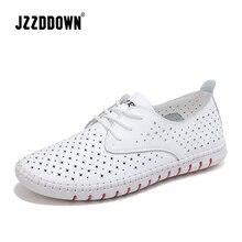 Baskets en cuir véritable blanche en toile, mocassins ajourés, chaussures de bateau, chaussures plates pour femme, mocassins décontractés