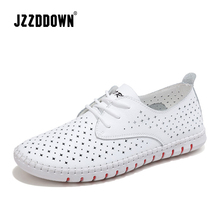 Genuine Leather ladies flats sneakers shoe Women casual loafers shoes female Hollow moccasins White Lace up canvas Boat shoes