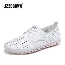 Sapato de couro genuíno para mulheres, sapato casual branco de lona com cadarço