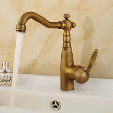 Antique Brass Bathroom Faucet Basin Faucet Single Hole Vanity Vessel Sinks Mixer Tap Cold And Hot Water Tap Deck Mount KD1175 все цены