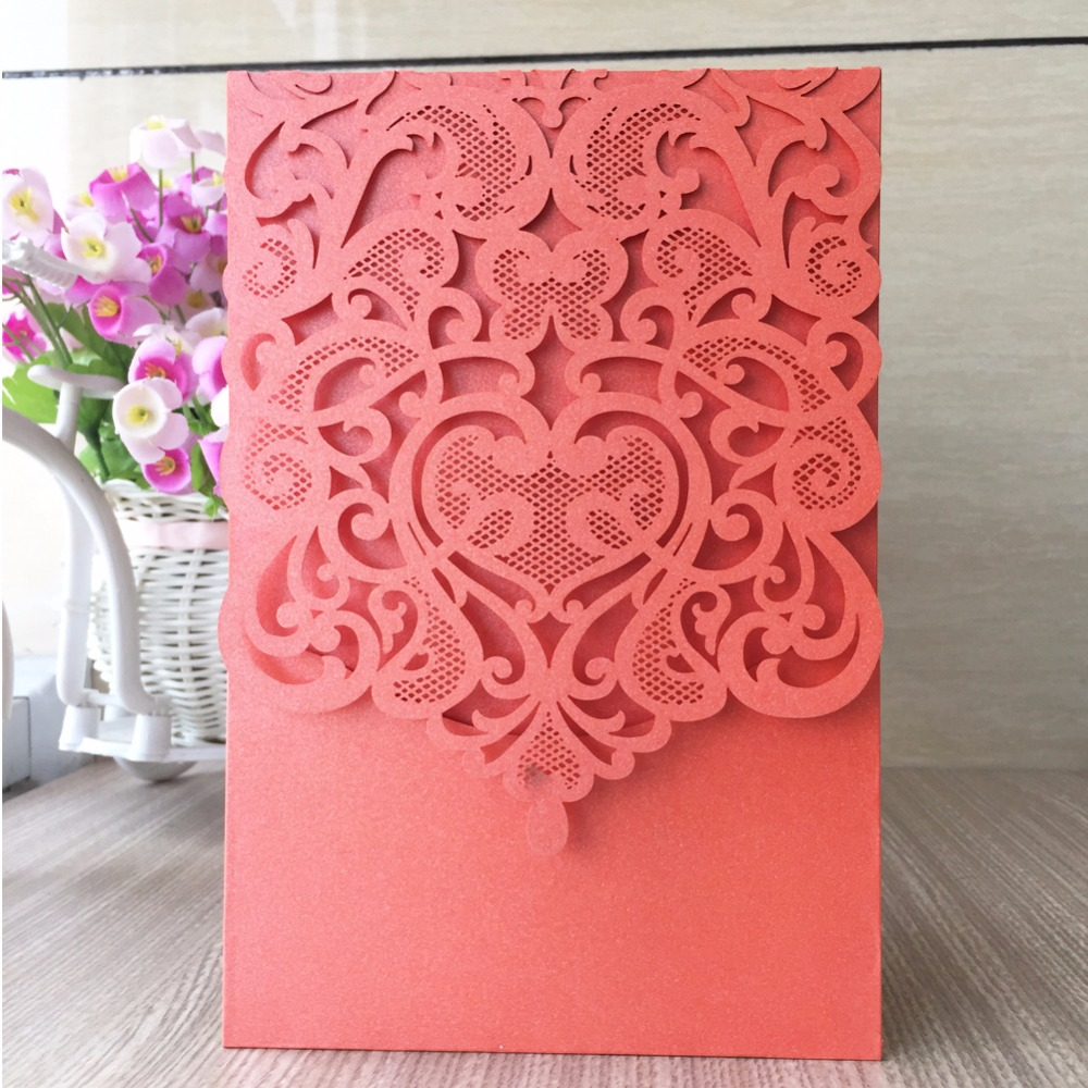 25pcs/pack Delicate Pocket Wedding Invitations Card With Beads ...