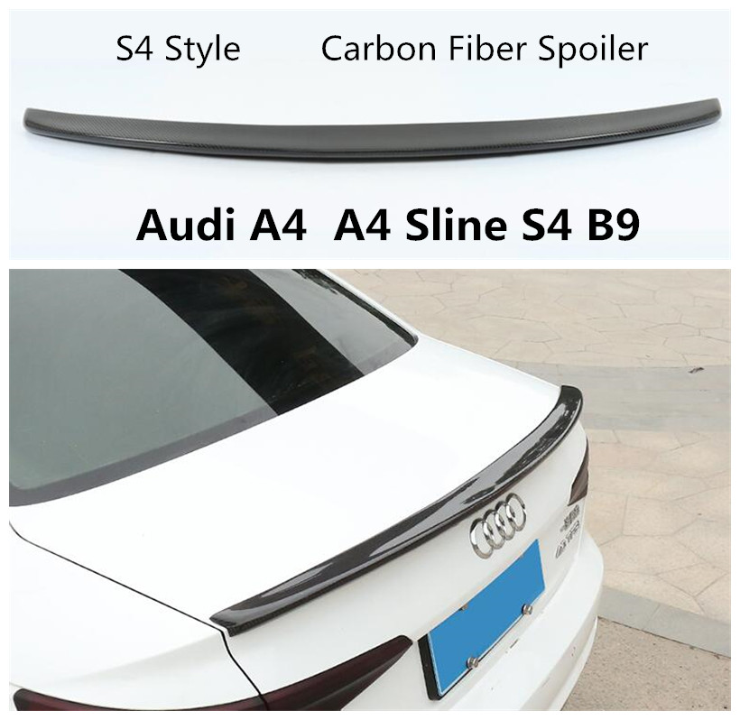 S4 Style Carbon Fiber Spoiler For Audi A4 Sline S4 B9 2017 2018 2019 Rear Wing Spoilers High Quality Car Accessories Spoilers & Wings     - title=