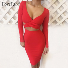 Forefair Sexy V Neck Midi Bodycon Dresses Women Autumn Winter 2018 Red Black Long Sleeve Night
